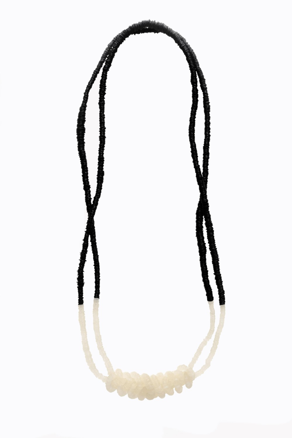 black and white plastic necklace