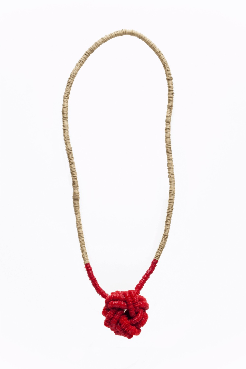 brown and red plastic necklace